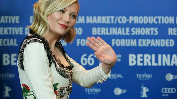 Actress Dunst leaves after news conference at 66th Berlinale International Film Festival in Berlin
