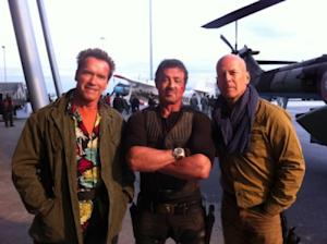 Arnold Schwarzenegger, Sylvester Stallone and Bruce Willis on 'The Expendables 2' set  -- Arnold Schwarzenegger/TwitPic