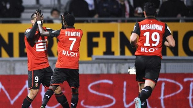 Rennes players celebrate after scoring against Nancy in their Ligue 1 match at the Marcel Picot Stadium (AFP)