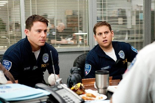 "In this image released by Columbia Pictures, Channing Tatum, left, and Jonah Hill are shown in a scene from the film ""21 Jump Street."" The film will premiere as the centerpiece of Austin's South by So"