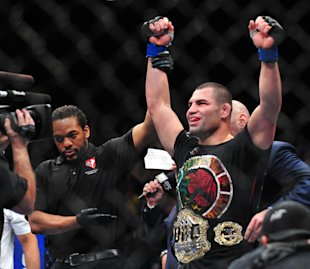 Cain Velasquez celebrates after beating Junior dos Santos. (USA Today Sports)
