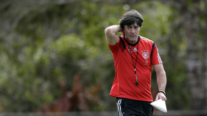 German national soccer team head coach Joachim Loew prepares for a training session in Santo Andre near Porto Seguro, Brazil, Thursday, June 12, 2014. Germany will play in group G of the 2014 soccer World Cup. (AP Photo/Matthias Schrader)
