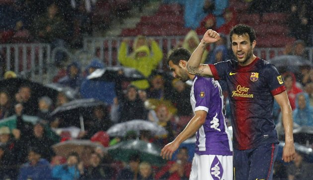 Barcelona's Cesc Fabregas celebrates a goal against Real Valladolid during their Spanish First division soccer league match at Camp Nou stadium in Barcelona