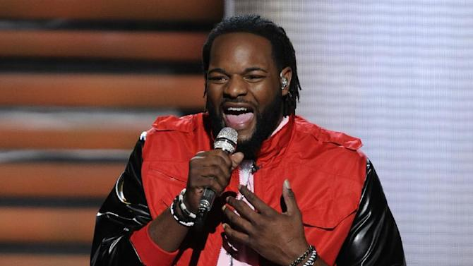 FILE - In this March 7, 2012 file photo released by Fox, contestant Jermaine Jones performs on the singing competition series
