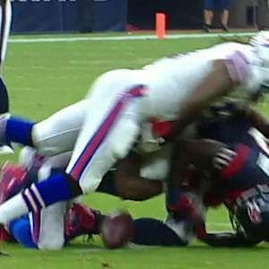 Houston Texans wide receiver Andre Johnson fumbles