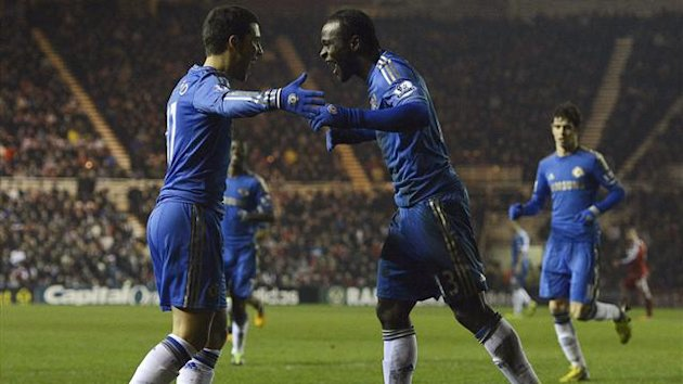 Chelsea's Victor Moses (R) celebrates scoring with Eden Hazard against Middlesbrough during their FA Cup match in Middlesbrough, England February 27, 2013. REUTERS