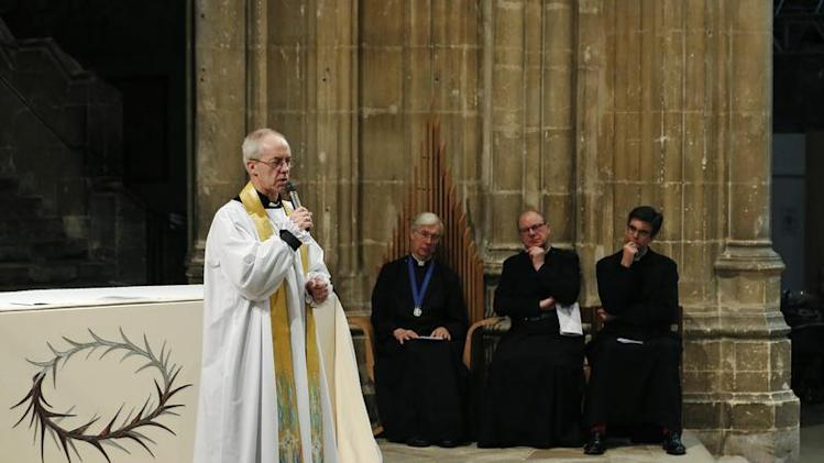 The new Archbishop of Canterbury Justin Welby speaks to the congregation during his first service at Canterbury Cathedral in southern England