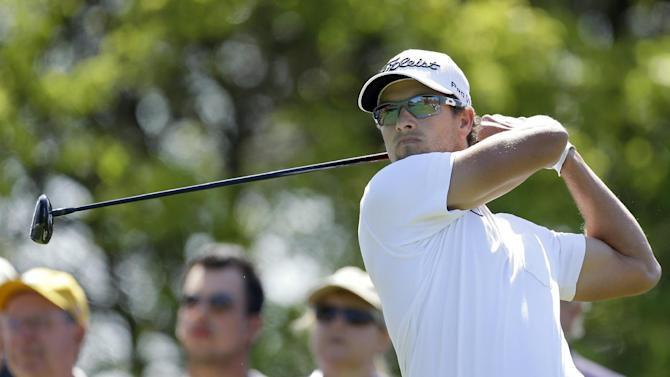 Adam Scott, of Australia, hits his tee shot on the sixth hole during the second round of the Tampa Bay Championship golf tournament Friday, March 15, 2013, in Palm Harbor, Fla. (AP Photo/Chris O'Meara)