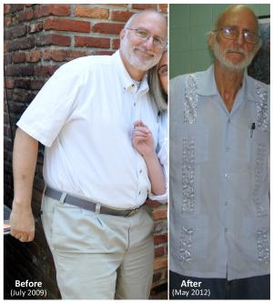 This two-picture combo handout photos provided by Alan Gross attorney Peter Kahn, shows Gross in 2009 and in 2012. Kahn, the lawyer for Gross, a Maryland man imprisoned in Cuba for more than two years says his client's health is worsening and that country is withholding the results of medical tests performed on him there. (AP Photo/Courtesy of Peter Kahn)