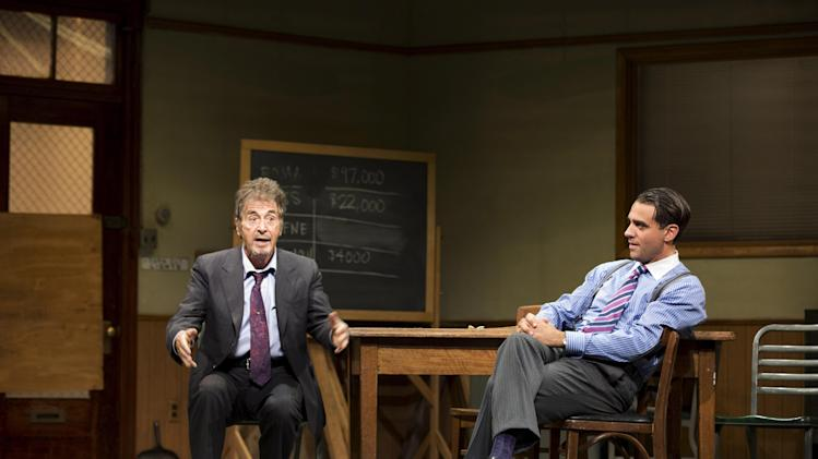 "This undated publicity photo released by Jeffrey Richards Associates shows Al Pacino, left, and Bobby Cannavale, in a scene from ""Glengarry Glen Ross"" at the Gerald Schoenfeld Theatre in New York. (AP Photo/Jeffrey Richards Associates)"