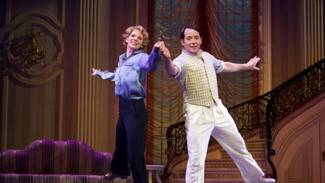 """FILE - In this publicity photo provided by Boneau/Bryan-Brown, Kelli O'Hara, left, and Matthew Broderick perform in the new musical comedy """"Nice Work If You Can Get It"""" at Broadway's Imperial Theatre in New York. Producers of """"Nice Work If You Can Get It"""" said Wednesday that Broderick has extended his run to June 15, but Kelli O'Hara will play her final performance on March 31. She'll be replaced by Tony Award nominee Jessie Mueller starting April 2. (AP Photo/Boneau/Bryan-Brown, Joan Marcus)"""