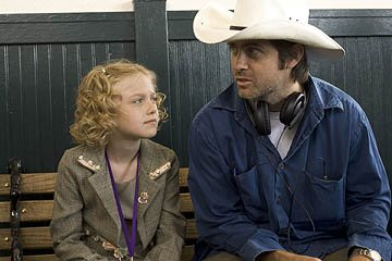 Dakota Fanning and director John Gatins on the set of DreamWorks Pictures' Dreamer: Inspired by a True Story