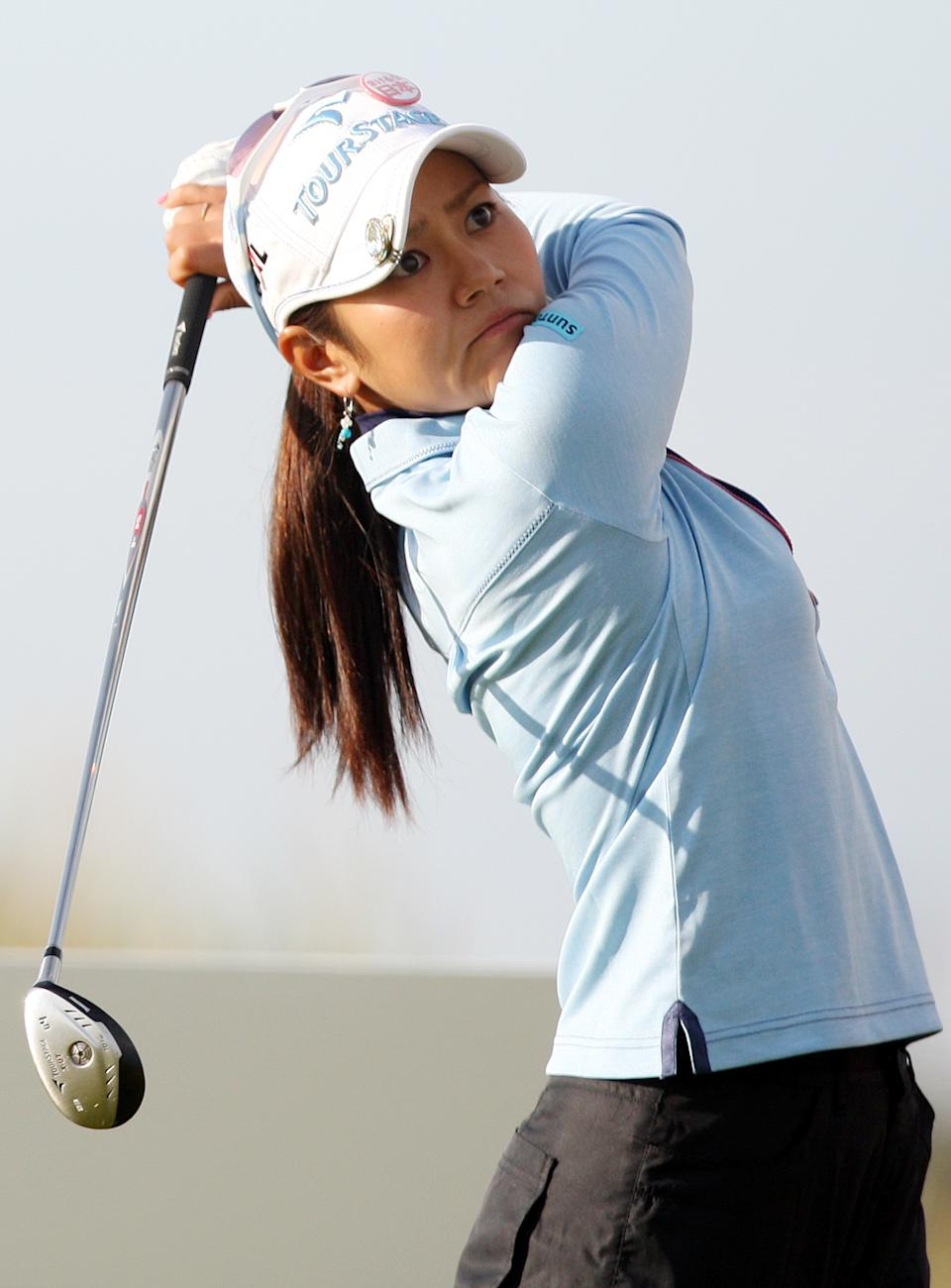 Japan's Ai Miyazato, play's her tee shot from the third during the first round of the Women's British Open at Carnoustie Golf Club, Carnoustie, Scotland, Thursday July 28, 2011.(AP Photo/Scott Heppell)