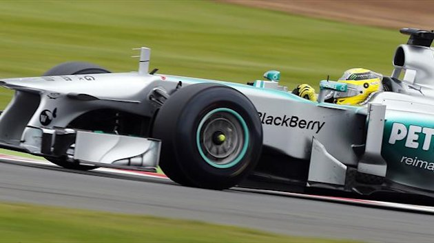 Nico Rosberg practices at Silverstone (Reuters)