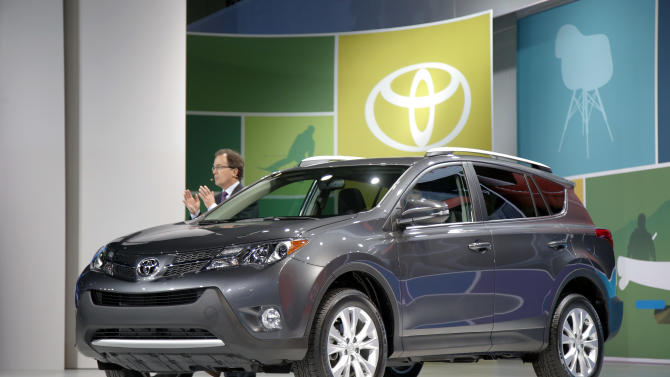 The new Toyota RAV4 is unveiled at the LA Auto Show in Los Angeles, Wednesday, Nov. 28, 2012. The annual Los Angeles Auto Show opened to the media Wednesday at the Los Angeles Convention Center. The show opens to the public on Friday, November 30. (AP Photo/Jae C. Hong)