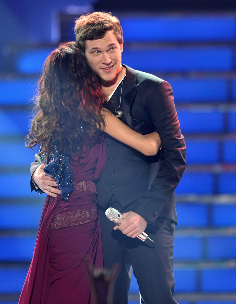 "Runner-up Jessica Sanchez, left, congratulates winner Phillip Phillips onstage at the ""American Idol"" finale on Wednesday, May 23, 2012 in Los Angeles. (Photo by John Shearer/Invision/AP)"