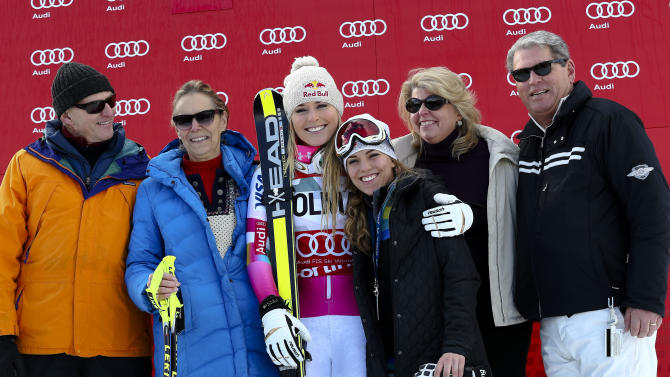 Family photo of the skier famous for 2010 Winter Olympics (gold medal) & Laureus World Sports Awards.