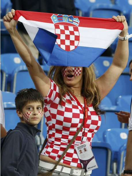Croatia's team supporter cheers before their Group C  Euro 2012 soccer match against Ireland at the City stadium in Poznan