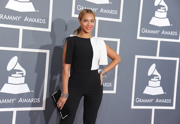 Beyonce arrives at the 55th annual Grammy Awards on Sunday, Feb. 10, 2013, in Los Angeles. (Photo by Jordan Strauss/Invision/AP)