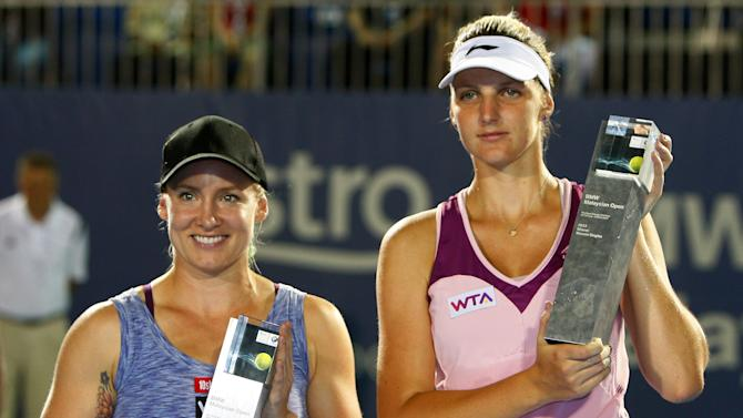 Women's singles champion Karolina Pliskova, right, of the Czech Republic poses with runner-up Bethanie Mattek-Sands of the United States during the prize presentation after their final match at the WTA Malaysian Open tennis tournament in Kuala Lumpur, Malaysia, Sunday, March 3, 2013. (AP Photo/Lai Seng Sin)