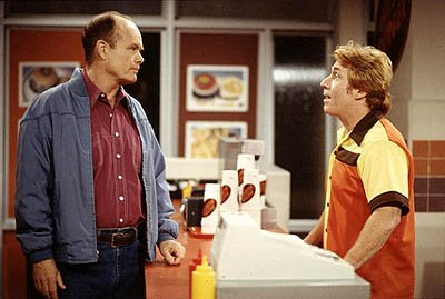 "Red (Kurtwood Smith, L) tries to reason with a not-so-cooperative manager from Fatsoburger (Guest star Danny Bonaduce, R) on the ""Radio Daze"" episode of Fox's That 70s Show"