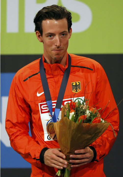 Second placed Otto of Germany stands on the podium during the medal ceremony after the men's Pole Vault final at the European Athletics Indoor Championships in Gothenburg