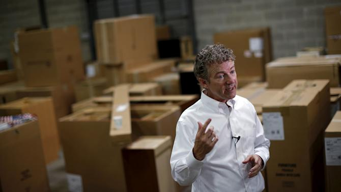 U.S. Republican presidential candidate Senator Rand Paul of Kentucky speaks during a campaign stop at Royal Kitchen and Bathroom Cabinets in Niles