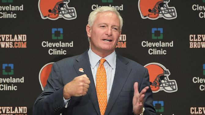FILE - This Aug. 3, 2012 file photo shows Jimmy Haslam III during a news conference in Berea, Ohio. The sale of the Cleveland Browns to Haslam III was unanimously approved by NFL owners Tuesday, Oct. 16, 2012, and team President Mike Holmgren will be leaving the Browns at the end of the season.  (AP Photo/Jay LaPrete, File)
