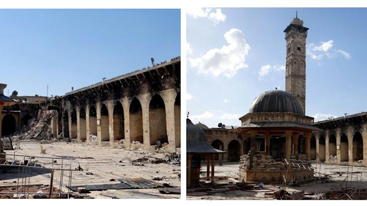 COMBO - This combination of two citizen journalist images provided by Aleppo Media Center AMC which has been authenticated based on its contents and other AP reporting, shows at left: the damaged famed 12th century Umayyad mosque without the minaret, background right corner, which was destroyed by the shelling, in the northern city of Aleppo, Syria, Wednesday April 24, 2013; and at right, an undated view of the mosque with is minaret still intact. The minaret of a famed 12th century Sunni mosque in the northern Syrian city of Aleppo was destroyed Wednesday, April; 24, 2013, leaving the once-soaring stone tower a pile of rubble and twisted metal scattered in the tiled courtyard. President Bashar Assad's regime and anti-government activists traded blame for the attack against the Umayyad mosque, which occurred in the heart Aleppo's walled Old City, a UNESCO World Heritage site. It was the second time in just over a week that a historic Sunni mosque in Syria has been seriously damaged. (AP Photo/Aleppo Media Center, AMC)