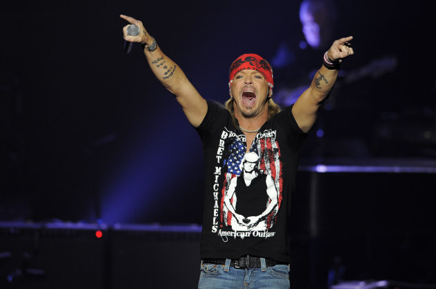 "Bret Michaels performs at the close of The GRAMMY Foundation's 14th Annual ""One Night Only: A Celebration of the Live Music Experience,"" Thursday, Feb. 9, 2012, in Beverly Hills, Calif. (AP Photo/Chris Pizzello)"