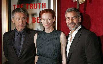 Director Tony Gilroy , Tilda Swinton and George Clooney at the New York City premiere of Warner Bros. Pictures' Michael Clayton