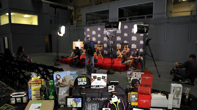 A view of the contents of the gift bags on display during the MTV Movie Awards Press Day at Sony Studios on Thursday, April 11, 2013, in Culver City, Calif. (Photo by John Shearer/Invision for MTV Networks/AP Images)