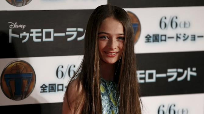 """Cast member Cassidy poses during the Japan premiere of the movie """"Tomorrowland"""" in Tokyo"""