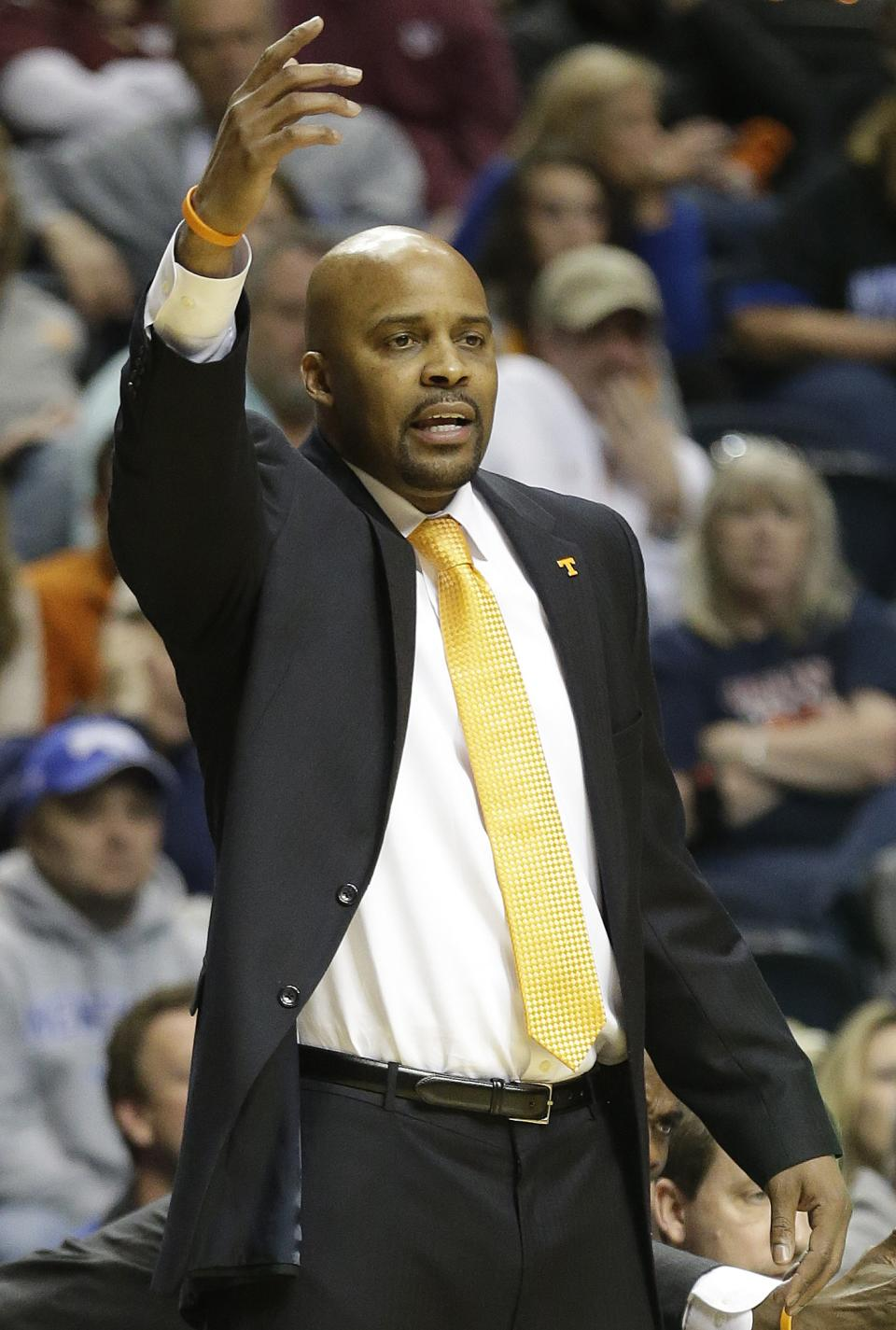 Tennessee head coach Cuonzo Martin watches play against the Mississippi State during the first half of an NCAA college basketball game at the Southeastern Conference tournament, Thursday, March 14, 2013, in Nashville, Tenn. (AP Photo/John Bazemore)