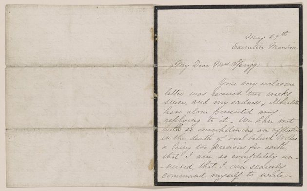 This undated handout image provided by the Library of Congress shows a letter written by Mary Todd Lincoln to Julia Ann Sprigg, May 29, 1862, which is part of an exhibit at the Library of Congress of letters and diaries saved for 150 years from those who lived through the Civil War that offer a new glimpse at the arguments that split the nation. The Library of Congress holds the largest collection of Civil War documents. It has pulled 200 items from its holdings for a new exhibit to reveal both private and public thoughts from dozens of famous and ordinary citizens who lived in the North and the South. (AP Photo/Library of Congress)