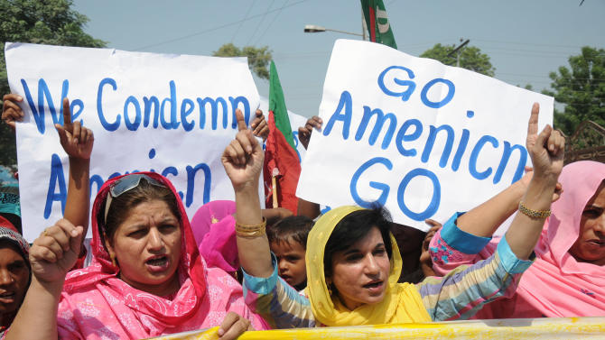 People rally against the U.S. in Multan, Pakistan, Wednesday, Sept. 28, 2011. Pakistan lashed out at the U.S. for accusing the country's most powerful intelligence agency of supporting extremist attacks against American targets in Afghanistan - the most serious allegations against Islamabad since the beginning of the Afghan war. (AP Photo/Khalid Tanveer)