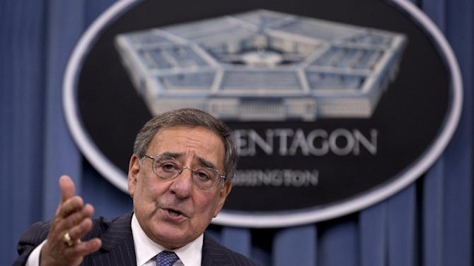 Defense Secretary Leon Panetta gestures as he speaks during a joint news conference with Joint Chiefs Chairman Gen. Martin Dempsey, not seen, at the Pentagon, Thursday, Oct. 25, 2012. Panetta said the U.S. military did not intervene during the attack on the U.S. Consulate in Libya last month because it was over before the U.S. has sufficient information on which to act.  (AP Photo/Carolyn Kaster)