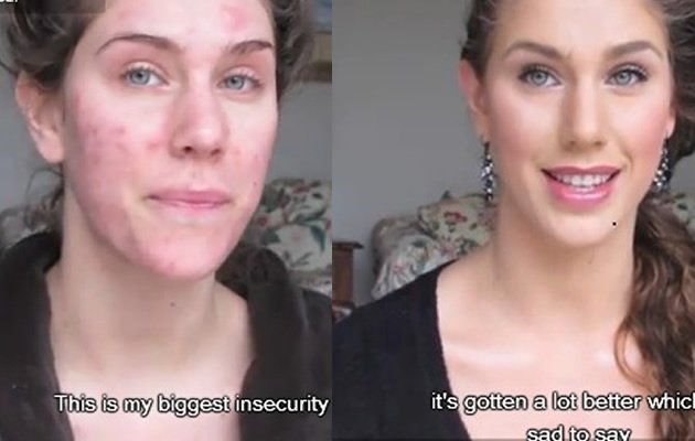 The before and after makeup video that propelled her to fame (You Tube screengrab)