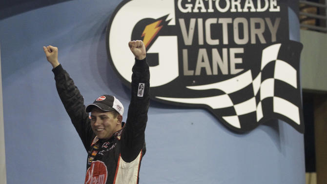 Cale Gale celebrates after winning the NASCAR Nationwide Truck Series auto race on Friday, Nov. 16 2012, at Homestead-Miami Speedway in Homestead, Fla. (AP Photo/Alan Diaz)