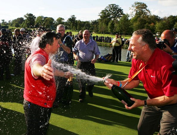 KILDARE, IRELAND - SEPTEMBER 24:  European Team Captain Ian Woosnam (L) is sprayed with champagne by Ian Botham after Europe win the Ryder Cup by a score of 18 1/2 - 9 1/2 on the final day of the 2006
