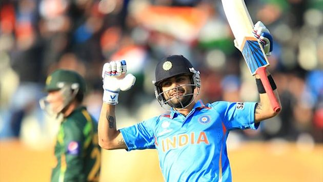 India's Virat Kohli celebrates victory over Pakistan (PA Photos)
