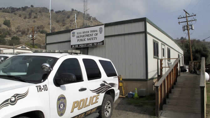 The tribal police headquarters of the Tule Lake Indian Reservation is seen Sunday, Dec. 9, 2012, at the reservation in California. Hector Celaya, 31, is a suspect in the shootings in which three people died and four others, including two young girls, were wounded Saturday, Dec. 8, 2012, on the reservation in the Sierra foothills of California's Central Valley. (AP Photo/Tracie Cone)