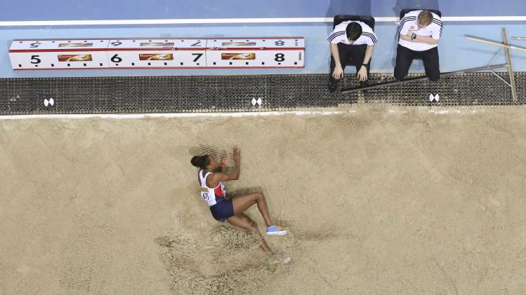 Proctor of Britain competes in women's long jump qualification event at the world indoor athletics championships at the ERGO Arena in Sopot