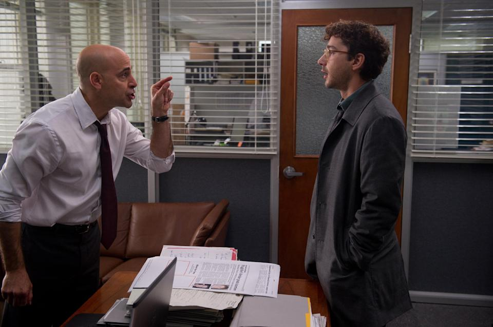 "This film image released by Sony Pictures Classics shows Stanley Tucci, left, and Shia LaBeouf in a scene from ""The Company You Keep."" (AP Photo/Sony Pictures Classics, Doane Gregory)"