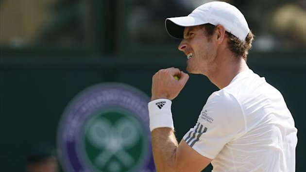 Andy Murray clenches his fist during the Wimbledon final (Reuters)