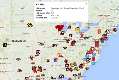 Map! Where NFL Draft first-rounders who weren't blue chip recruits comefrom