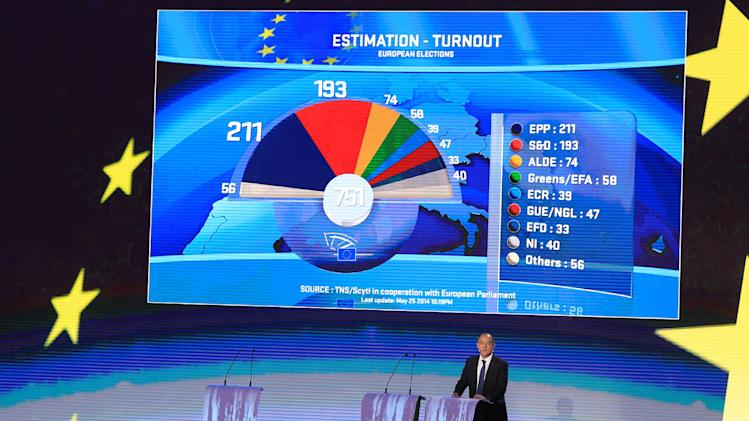 A graphic shows the estimate results of the European elections, at the European Parliament in Brussels, Sunday, May 25, 2014. Exit polls showed the far right and Eurosceptics making sweeping gains in European Parliament elections Sunday, signaling a major political shift toward parties that want to slash the European Union's powers or abolish it altogether. (AP Photo/Yves Logghe)