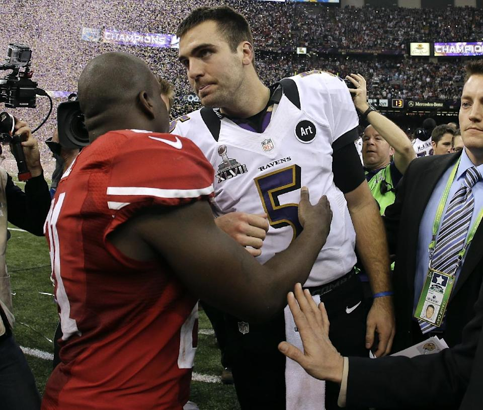 Baltimore Ravens quarterback Joe Flacco (5) reacts at the end of the NFL Super Bowl XLVII football game against the San Francisco 49ers, Sunday, Feb. 3, 2013, in New Orleans. The Ravens won 34-31. (AP Photo/Matt Slocum)