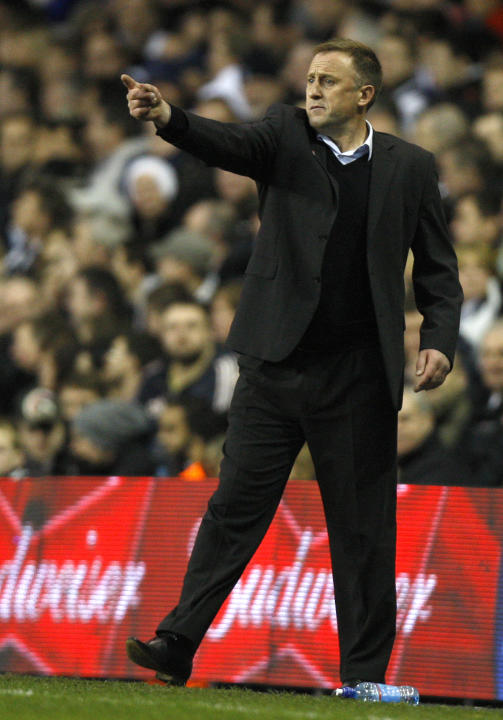Cheltenham Town's manager Mark Yates gestures during their English FA Cup third round soccer match against Tottenham Hotspur at White Hart Lane Stadium in London, Saturday Jan. 7, 2012. (AP Photo/Kirs