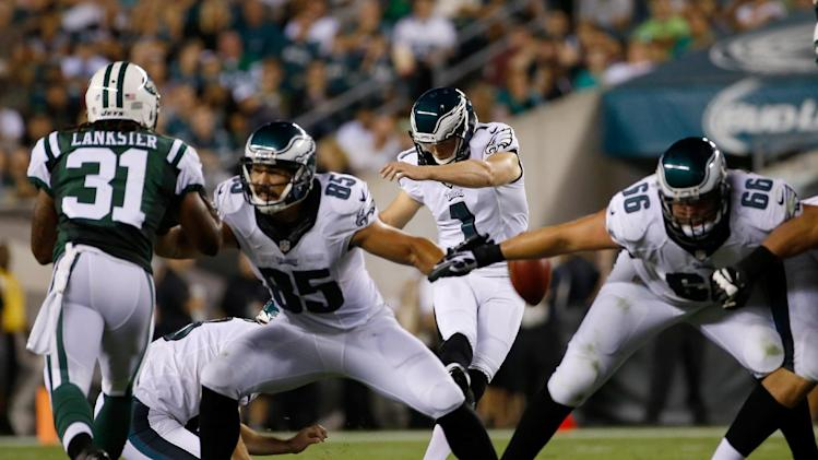 Philadelphia Eagles' Cody Parkey kicks a field goal during the first half of an NFL preseason football game against the New York Jets, Thursday, Aug. 28, 2014, in Philadelphia